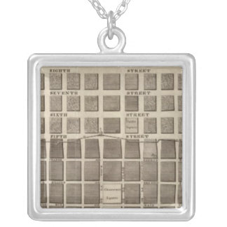 Plan of St. Louis, Missouri Silver Plated Necklace