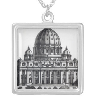 Plan of St. Peter's, Rome, engraved by Silver Plated Necklace