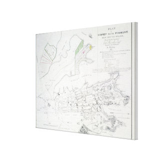 Plan of Sydney with Pyrmont, New South Wales, the Canvas Print