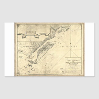 Plan of the Attack Fort Sulivan Map (June 28 1776) Rectangular Sticker