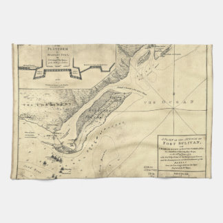 Plan of the Attack Fort Sulivan Map (June 28 1776) Towel