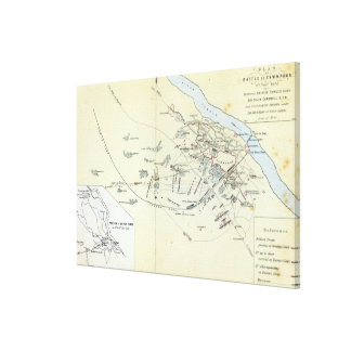 Plan of the Battle of Cawnpoor Canvas Print