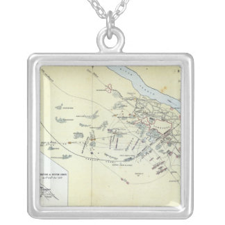 Plan of the Battle of Cawnpoor Silver Plated Necklace