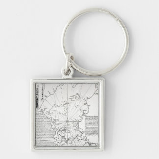 Plan of the Bay and Harbour of Rio de Janeiro Silver-Colored Square Key Ring