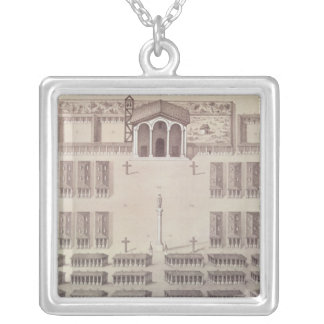 Plan of the Candelaria Mission in Paraguay Silver Plated Necklace