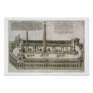 Plan of the Circus Maximus, Rome, engraved by the Poster