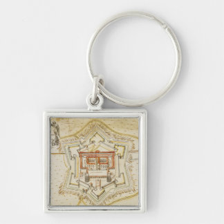 Plan of the citadel of Milan Silver-Colored Square Key Ring