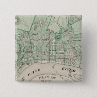 Plan of the City of New Albany, Floyd Co, Indiana 15 Cm Square Badge