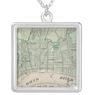 Plan of the City of New Albany, Floyd Co, Indiana Silver Plated Necklace