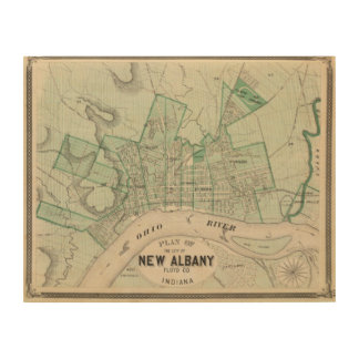 Plan of the City of New Albany, Floyd Co, Indiana Wood Wall Art