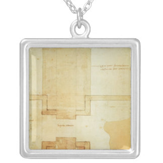 Plan of the drum of the cupola of the Church Silver Plated Necklace
