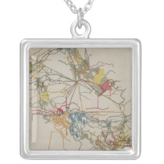 Plan of the New Almaden Mine Silver Plated Necklace