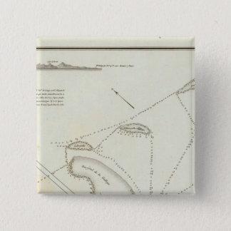 Plan of the Port of Veracruz 15 Cm Square Badge