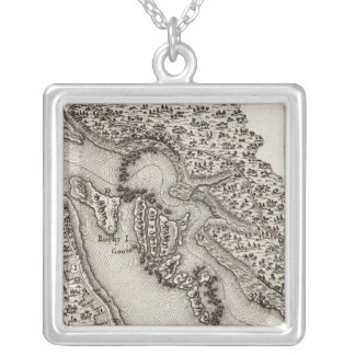 Plan of the Rapids or Falls of the Ohio Silver Plated Necklace