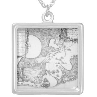 Plan of the Town and Harbour of Cartagena Silver Plated Necklace