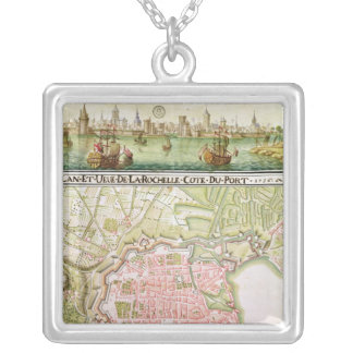 Plan of the town of La Rochelle, 1736 Silver Plated Necklace