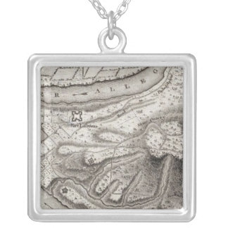 Plan of the Town of Pittsburg Square Pendant Necklace