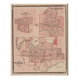 Plan of Warsaw with Pierceton, Plymouth Poster