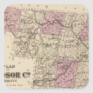 Plan of Windsor Company in Vermont Square Sticker