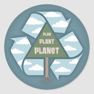 Plan-Plant-Planet Round Sticker