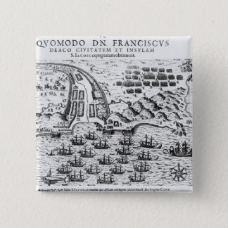 Plan Showing how Francis Drake  Stormed 15 Cm Square Badge