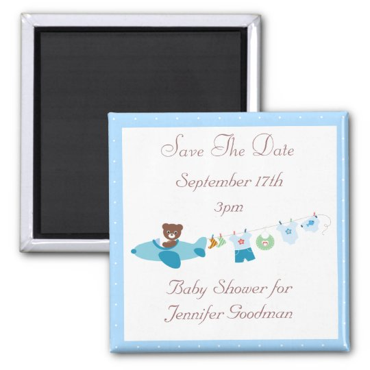 Plane & Clothesline Blue Save The Date Baby