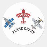 Plane Crazy Round Sticker