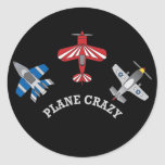 Plane Crazy Round Stickers