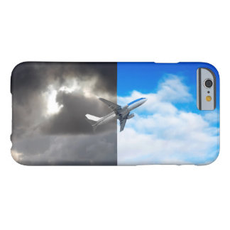 Plane flying out of stormy sky into blue sky barely there iPhone 6 case
