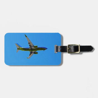 Plane on a travel tag