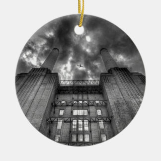 Plane over Battersea Power Station, London Christmas Ornament