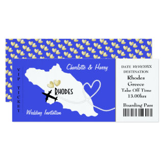 Plane Ticket Boarding Pass To Rhodes Greek Wedding Card
