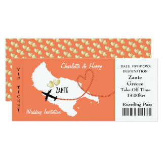 Plane Ticket Boarding Pass To Zante Greek Wedding Card