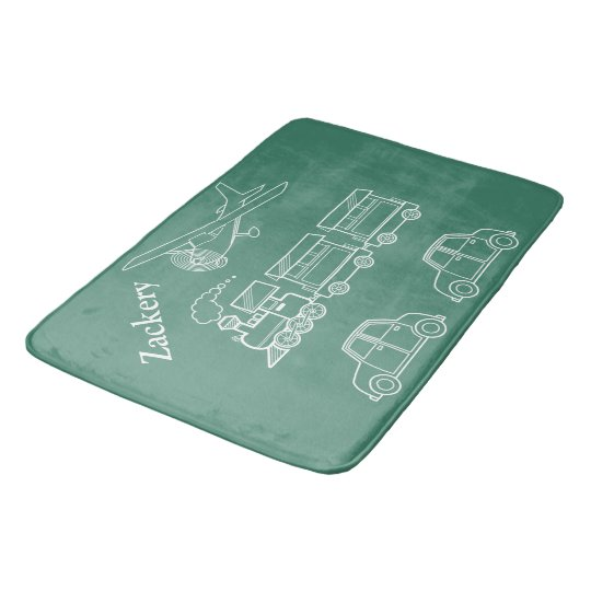 Plane, Train and Car Design ~editable name & Bath Mats