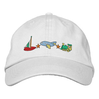 Plane, Train, Sailboat Embroidered Cap