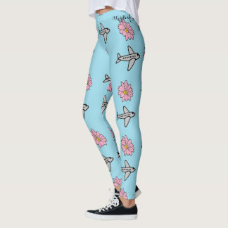 Planes and Flowers Leggings