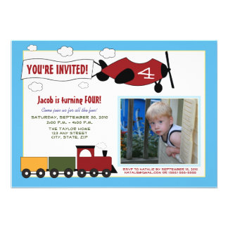 Planes Trains Birthday Party Invite blue