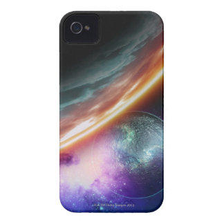 Planet and its moon. Computer artwork of an iPhone 4 Case-Mate Cases