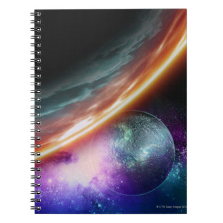 Planet and its moon. Computer artwork of an Note Book
