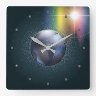 Planet And Stars In A Nignt Sky Square Wall Clock