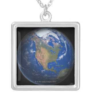 Planet Earth 3 Silver Plated Necklace