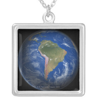 Planet Earth 5 Silver Plated Necklace