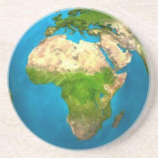 Planet Earth - Africa - Colorful Globe. 3d Render Beverage Coaster