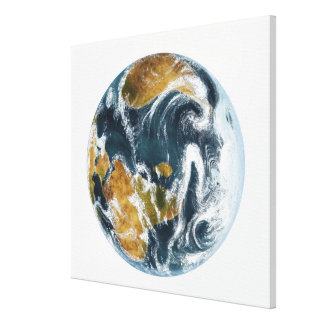 Planet Earth and clouds seen from space Canvas Print
