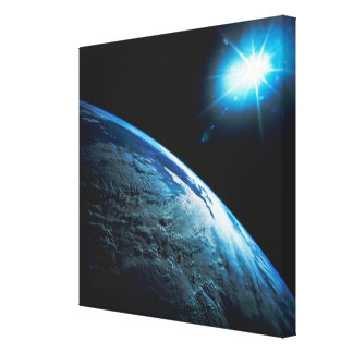 Planet Earth and Star from Space Canvas Print