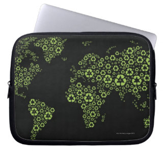 Planet earth composed of recycling symbols laptop sleeve