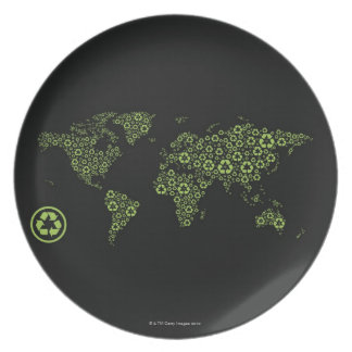 Planet earth composed of recycling symbols plate
