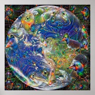 Planet Earth Deep Dream Poster