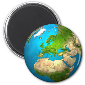 Planet Earth - Europe - Colorful Globe. 3d Render 6 Cm Round Magnet