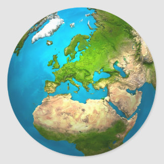 Planet Earth - Europe - Colorful Globe. 3d Render Classic Round Sticker
